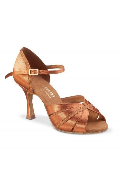 Elegant copper satin latin dance shoes