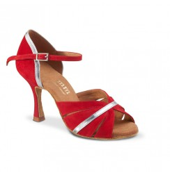 Red & silver latin dance shoes
