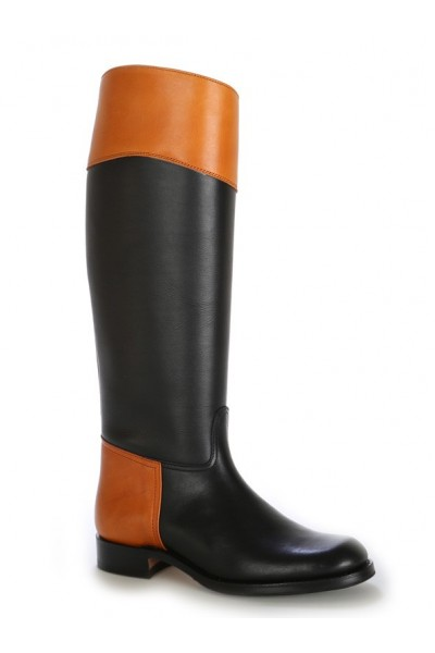 Two-coloured leather black riding boots