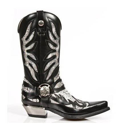 White snake and black leather cowboy boots for men