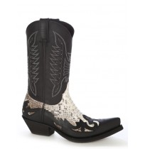 Natural snake and leather mexican cowboy boots