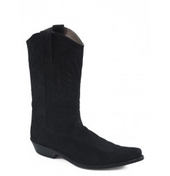 Black suede leather cowboy boots