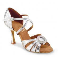 Elegant silver leather bridal heels with rhinestone buckle