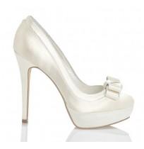Elegant ivory satin high heel bride shoes