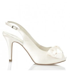 Smart white satin bridal heels with bow