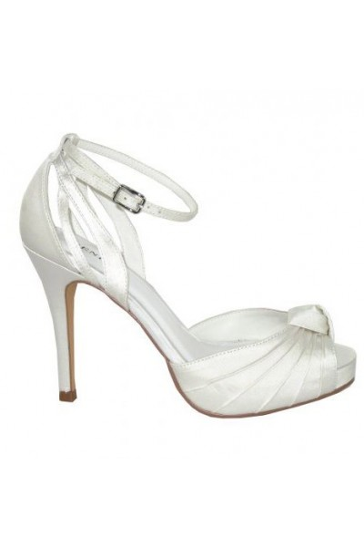 Elegant draped white smart heels