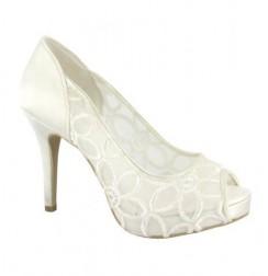 Elegant White guipure bridal open toe heels