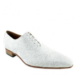 White lace formal shoes for men