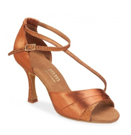 Elegant natural satin and glitter dancing shoe