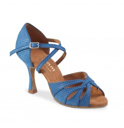 Blue polka dot leather dance shoes