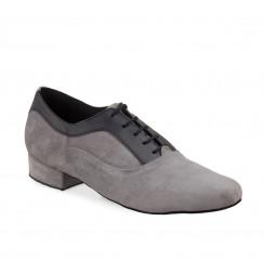 Grey & black leather dancing shoes for men