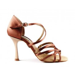 Brown satin professional dance shoes