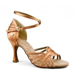 Light bronze satin latin dance shoes