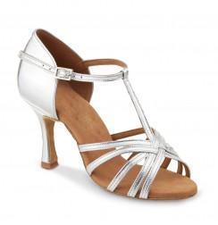 Elegant silver sandals heels