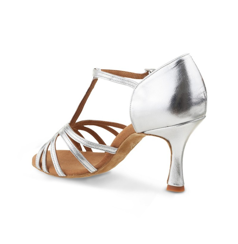 Silver T Strap Wedding Heels Quality Leather Comfort