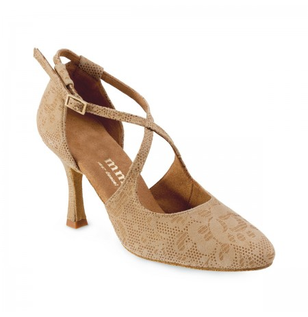 Beige lace pump heels