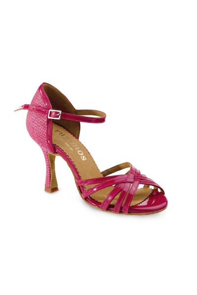 4fd093bd9fe DARK PINK SHINY HIGH HEELS Open toe varnished pink leather party shoes