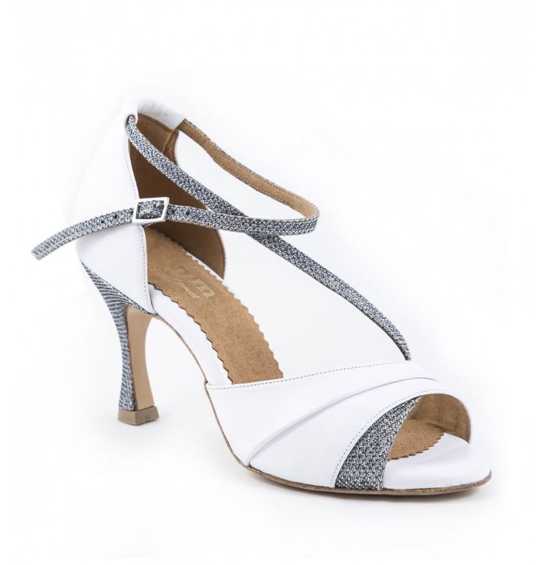 White Wedding Shoes With Silver Glitter Unique Elegant
