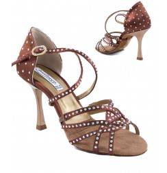 Rhinestone brown professional latin dance shoe