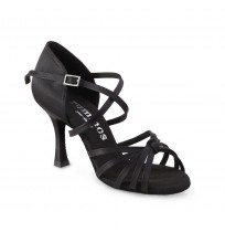 Classic black satin dancing shoes with x-strap
