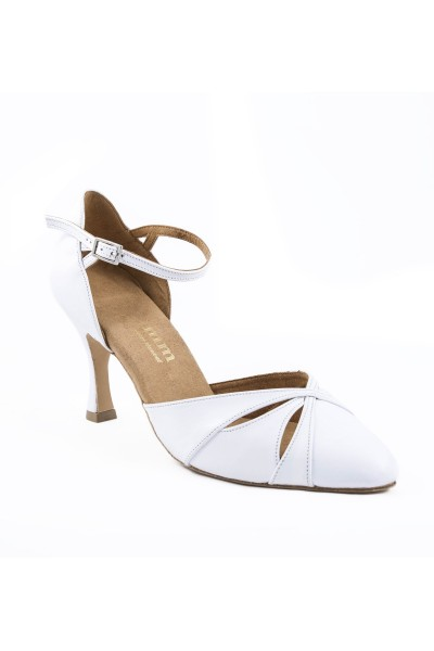 Comfort White Leather Pump Heels