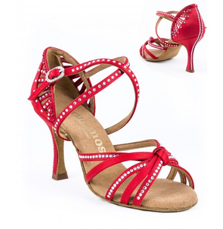 Red salsa dance shoes with crystals