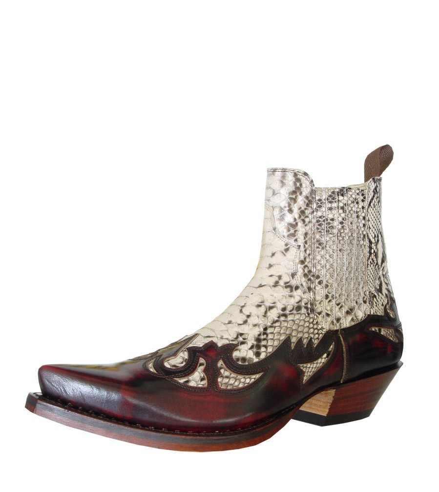 9da2fc83764 Real snakeskin and burgundy leather low cut cowboy boots WESTERN LEATHER  SNAKESKIN ANKLE BOOTS