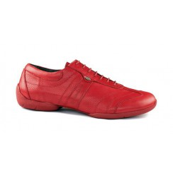 Red leather sneakers for men