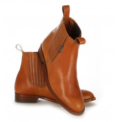 Three tone leather cowboy ankle boots