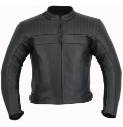 Black leather biker jacket with titanium armours