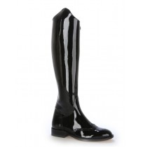 Black patent leather riding style boots