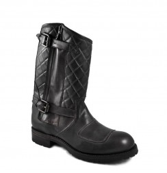 Arrested buckle padded biker boots