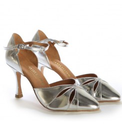 Silver leather comfortable bridal shoes