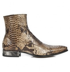 Natural brown snake ankle boots for men with steel heel