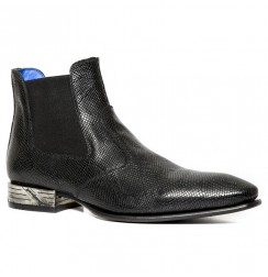 Black snake leather ankle boots for men with steel heel