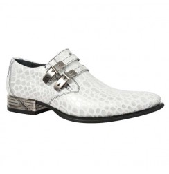 White crocodile loafers for men with steel heel