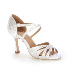 White satin bridal shoes with gems