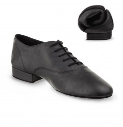 Elegant black flexible men's leather dance shoes