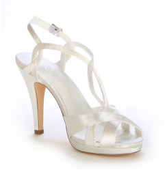 Ivory open toe wedding heel
