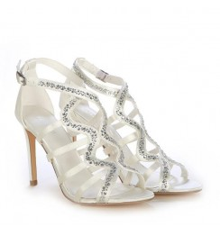 Ladies white satin bridal heels with gems