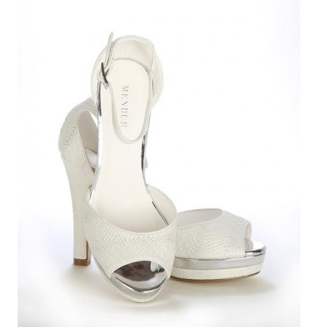 Classic silver ankle strap bridal heel with platform