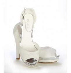 White bridal shoes with strass heel