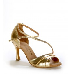 Elegant gold leather comfort sandals