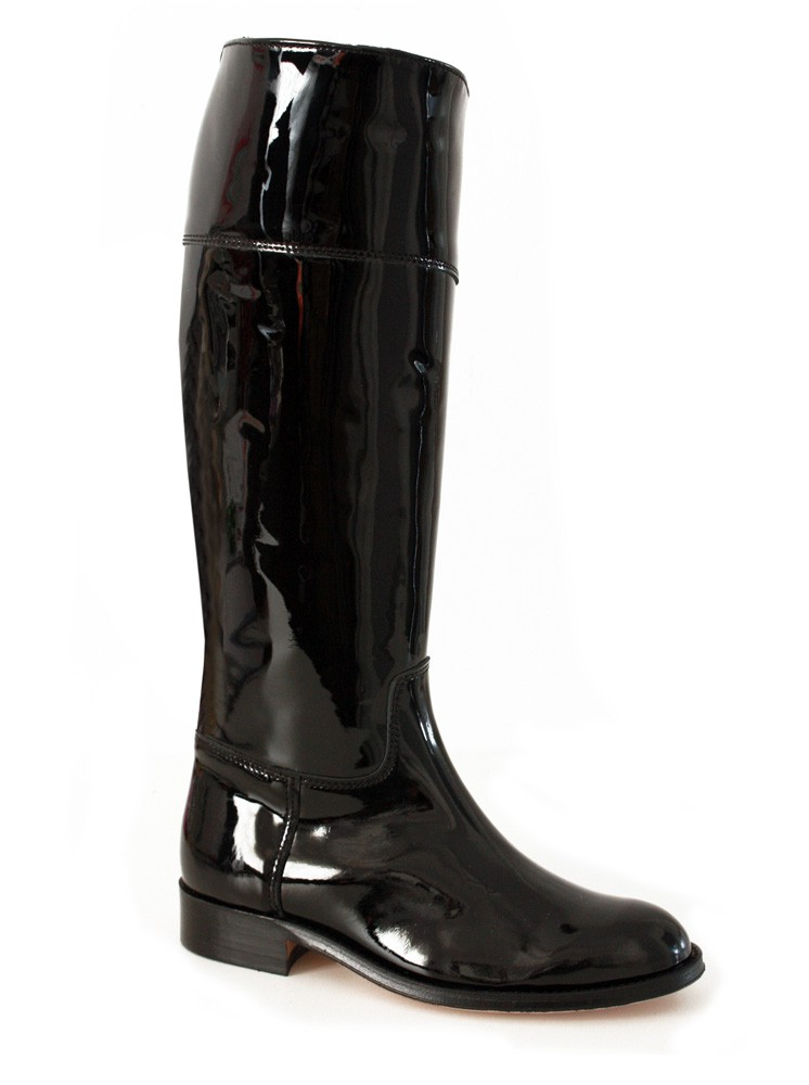 shiny black patent leather boots