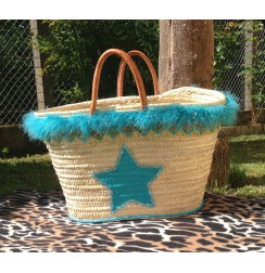 Big beach bag turquoise blue star