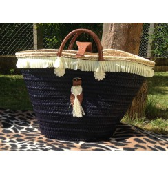 Navy blue beach basket pom-pom chic