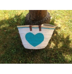 Blue heart pearl white beach bag