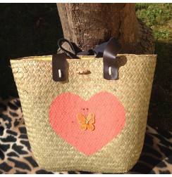 Straw tote bag hearts pink and coral