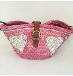 Straw tote with jewel and pearls hearts