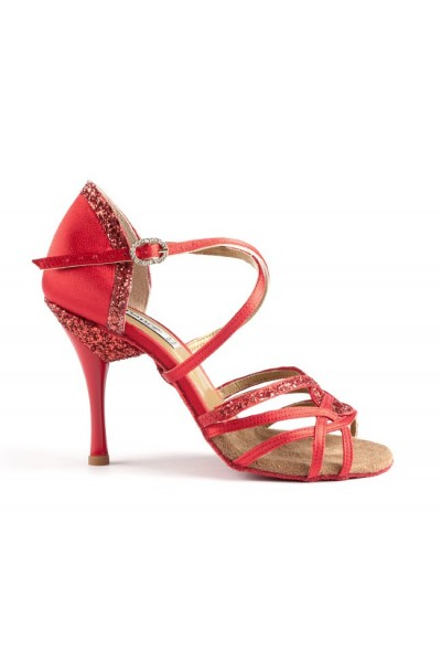 Red salsa shoes with sparkly heel